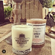 Our year round favorite on display @thefadedfarmhouse photo by @thegentlemansstache #southernfirefly #southernfireflycandle #amberoak #candles  #shoplocal #nashville