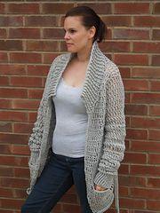Ladies Baggy Cardigan by HappyBerry. Free crochet pattern, chunky yarn, 8mm hook, S-3X.