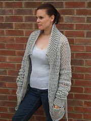 Ladies Baggy Cardigan by HappyBerry. Free crochet pattern, chunky yarn, 8mm hook, S-3X.