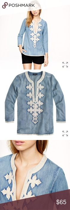 JCrew Embroidered Tunic in Chambray Euc. No flaws to note — PRODUCT DETAILS From the markets of Marrakech straight to your beach tote—the soutache embroidery on this top was inspired by a traditional Moroccan caftan.  Cotton. Three-quarter sleeves. Center front slit. Machine wash. Import. Item A8431. J. Crew Tops Tunics