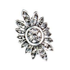 Pierścionek Vintage z Grafitowymi Kryształkami Kwiat #ring #vintage