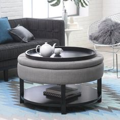 citation coffee table ottoman with removable cushion | decor