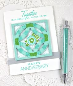Quilt Anniversary Card by Dawn McVey for Papertrey Ink (February 2015)