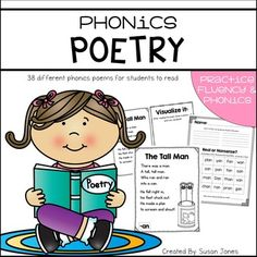 This poetry unit includes 38 different phonics poems that focus on different word families or phonemes.Poetry is such a great way for students to practice fluency, visualization and phonics skills. I created this unit to help my students practice all these skills and create their own poetry journal throughout the year!