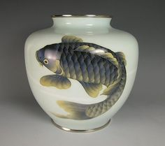 ~ Japanese Cloisonne Vase With Koi - Circa 1940s-50s (Showa Period), Japan