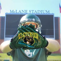 Baylor-fied receiver gloves, from the Baylor Bookstore