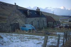Croft house and old cars, Weisdale