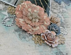 """Crazy for You"" Layout by Tracey Sabella for Donna Salazar: Mixed Media, Handcrafted Flowers, Stamping, Pan Pastels, Clearsnap, Spellbinders, Art Gone Wild, Want2Scrap, Helmar, Tutorial for Open Lace Rose: http://gracescraps.blogspot.com/2014/02/bride-mixed-media-layout-for-donna.html"