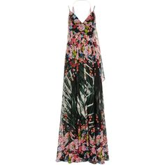 Elie Saab Flower Palm Printed Crepe Georgette Sleeveless Gown (£3,895) ❤ liked on Polyvore featuring dresses, gowns, elie saab dresses, elie saab evening gowns, sleeveless a line dress, a line gown and full skirt