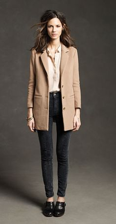 camel coat (with black outfit - like Capri pants)