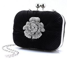 """Black satin evening bag Measures approximately 6"""" x 4"""" 1 1/2"""" Comes with a detachable shoulder chain Great for special events #timelesstreasure"""