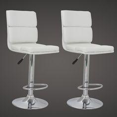 Sgabelli-sedie bar/soggiorno Wall Street eco-pelle,2,bianchi