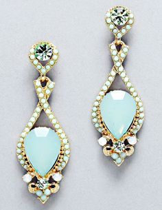Mint crystal earrings