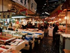 Tsukiji Fish Market, Tokyo  Photograph by Getty Images/Panoramic Images    The clamorous labyrinth of stalls in Tokyo's Tsukiji Fish Market showcases all manner of seafood—from live sea eel to pickled octopus—and reflects the well-ordered confusion of Japanese society. Fish has long been the protein staple of seagirt Japan, which consumes more than a tenth of the world catch.