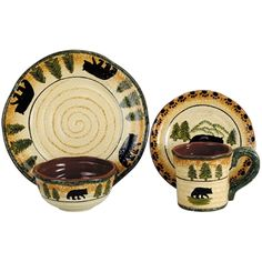 """16 Pc Service for Four Bear Dinnerware,  4 - 10.75"""" Dinner Plates 4 - 8.50"""" Salad / Lunch Plates 4 - 5.75"""" x 5.75"""" Cereal / Soup Bowls 4 - 16 oz. Mugs    Matching Canister Set and Service Set at Delectably-Yours.com  #DelectablyYours Rustic Cabin Lodge Decor"""