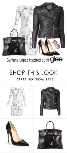 """Santana Lopez inspired outfit/Glee"" by tvdsarahmichele ❤ liked on Polyvore featuring BCBGMAXAZRIA, MuuBaa, Christian Louboutin, Hermès and Swarovski"