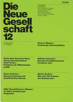Die Neue Gesellschaft 12 - 1974 -  A scan of an original copy of Die Neue Gesellschaft, a political magazine that was art directed by Helmut Schmid
