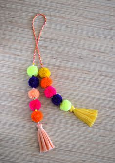 Pom pom bag charm Tassel bag charm Neon pink tassel bag charm Bag accessories Boho accessories Handbag charm Pom pom purse charm Colorful bag charm made of hand crafted pom poms and tassels. Perfect f (Diy Crafts For Women) Pom Pom Purse, Pom Pom Bag Charm, Pom Pom Crafts, Boho Accessories, Diy Jewelry, Tassels, Creations, Gifts, Handmade