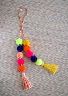 Pom pom bag charm Tassel bag charm Neon by PearlAndShineJewelry
