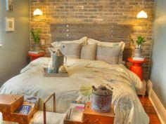quarto de casal com parede de tijolo branco - Pesquisa Google