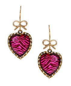 Betsey Johnson Leopard Heart Drop Earrings