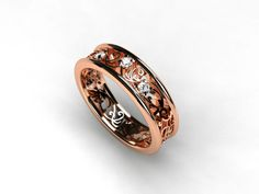 Filigree rose gold ring with diamonds