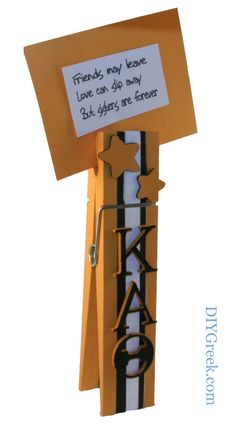 Kappa Alpha Theta KAT Large clothes pin note or photo holder.  Used materials found in the Supply Sack.  This is so easy to do and makes such a cute project.  The nine inch clothes pin is in Project Pack 3, #kappa alpha theta, #theta, #sister, #little sister, #craft, #idea, #sorority, #greek,  #gift
