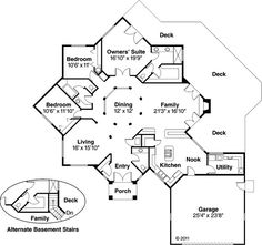 Contemporary Style House Plans - 2417 Square Foot Home , 1 Story, 3 Bedroom and 2 Bath, 2 Garage Stalls by Monster House Plans - Plan Beach House Plans, Dream House Plans, Small House Plans, Beach House Decor, Round House Plans, Contemporary Style Homes, Contemporary House Plans, Octagon House, Unique Floor Plans