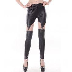 Black Cut Out Stylish Garter Leggings