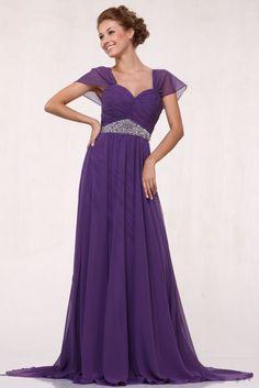 Plus Size Purple Dress Mother of Bride Chiffon Cap Sleeve Full Length $177.99