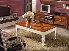 Tavolino da salotto in legno con intarsio, tavolino alzabile