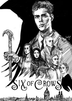 Art by cladelle//WIP sketch of a new book cover for six of crows