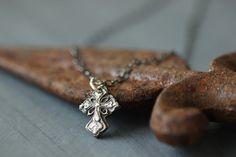 Sterling Silver Cross Necklace // Silver Cross by DezineStudio