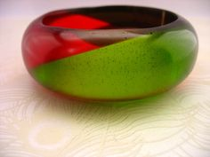 Chunky Angle Resin Bangle Bracelet Jewelry Apple by TopazTurtle, $72.00
