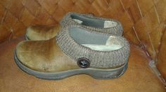 Dansko Kenzie  Leather Mule Clogs Shoes Camel wit Rib Knit Sweater Cuff SZ 39  #Dansko #Clogs