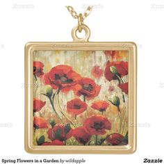Spring Flowers in a Garden Square Pendant Necklace. Regalos, Gifts. #DiaDeLasMadres #MothersDay