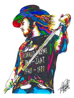 "Ronnie Van Zant, Lynyrd Skynyrd. Lead Singer, Vocals, Southern Rock, POSTER from Original Dwg 18"" x"
