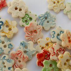 5 Porcelain Flower Shaped Buttons  Craft by melissaceramics, £10.00