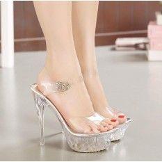 2017 Women High Heel Sandals Sexy Crystal Transparent Women Shoes Fish head High Platform 14cm Shoes Large Size (White)