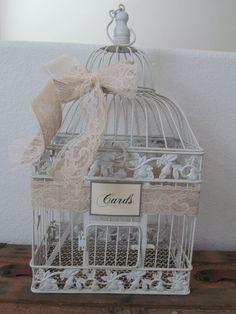 Rustic Burlap Birdcage Wedding Card Box / by SouthburyTreasures, $65.00
