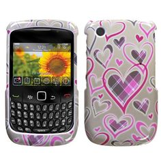 Design Hard Protector Skin Cover Cell Phone Case for RIM Blackberry Curve 8520 AT, T-Mobile - Plaid Heart $0.05