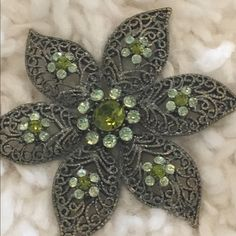 Flower Brooch Contemporary flower brooch. Mechanism is a bit bent, still functional. Jewelry Brooches
