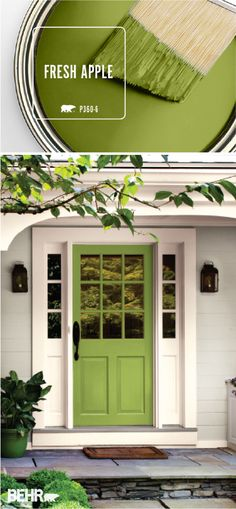 Looking for an easy way to add a burst of bright color to the exterior of your home? Check out BEHR's Color of the Month: Fresh Apple. This modern green hue shines when paired with soft creams and light grays. Try painting your front door with this bright color to give your home a subtly modern flair. #kitchendoors Green Front Doors, Painted Front Doors, Front Door Colors, Bright Front Doors, Yellow Doors, Exterior Paint Colors For House, Paint Colors For Home, Exterior Colors, Gray Exterior