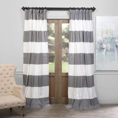 Slate Gray and Off White 50 x 120-Inch Horizontal Stripe Curtain