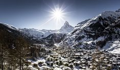Zermatt is famed as a mountaineering and ski resort of the Swiss Alps.