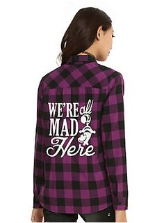 We're all mad for plaid // Disney Alice In Wonderland Plaid Girls Woven Top