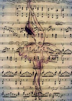 Print Art Ink Drawing Ballet Sketch Silhouette Painting Illustration Gift Ballerina Vintage Autographed Emanuel M. Sheet Music Crafts, Sheet Music Art, Music Sheets, Ballet Painting, Ballet Art, Book Page Art, Book Art, Ballerina Kunst, Newspaper Art