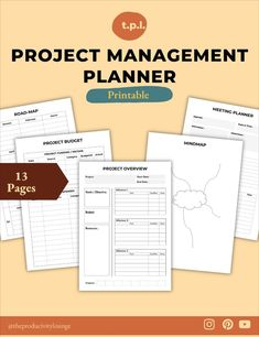 Project Management Planner Templates // 13 Pages Do you need to manage projects often in your life and work? Having a project management system in place can make your work a lot more easier. This project management template is designed to help you manage all projects big and small. Use the templates that are required in your project at any time. Planner Template, Printable Planner, Printables, Self Development, Personal Development, Morning Pages, Project Management Templates, Productivity Quotes, Good Notes