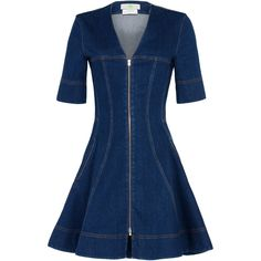 Stella McCartney Lucette Denim Dress ($680) ❤ liked on Polyvore featuring dresses, midnight, blue fit-and-flare dresses, blue v neck dress, v-neck dresses, flared dresses and short-sleeve dresses