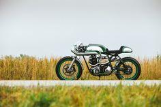 """Misty Green"" Norton Commando 750 by Fuller Moto | Alloy bodywork | photography by Matthew Jones | via bikeexif.com"